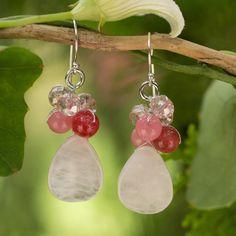 Novica Handcrafted Sterling 'Pink Rose' Quartz Earrings