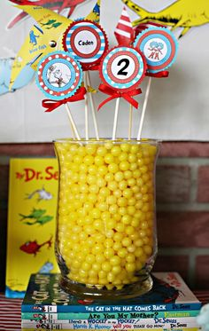 dr seuss party decoration- you have the same jar! Will fo perfectly on the cake table Dr Seuss Birthday Party, Baby First Birthday, Boy Birthday Parties, Birthday Ideas, Dr. Seuss, Dr Seuss Baby Shower, Diy Blog, Party Planning, Party Time