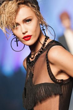 Frida Gustavsson at Jean Paul Gautier S S 2013- Madonna look