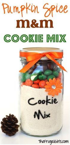 Pumpkin Spice M&M Cookie Mix in a Jar! ~ from TheFrugalGirls.com - this easy recipe for Fall cookies makes the perfect Mason Jar Gift! #masonjar #recipes #thefrugalgirls