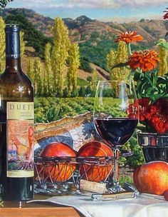 Vibrant Watercolor Wine Art by artist Eric Christensen