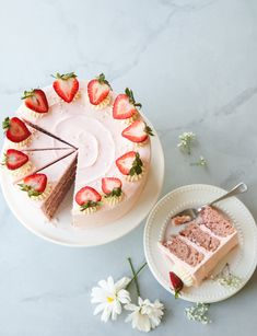 """A beautiful, blushing Strawberry Layer Cake with creamy Heritage Frosting! Pink strawberry cake layers slathered with sweet jam and heritage, or """"cooked flour,"""" frosting that is special enough for Mom this Mother's Day. Strawberry Layer Cakes, Strawberry Cake Recipes, Strawberry Puree, Strawberry Cake Decorations, Strawberry Shortcake, Food Cakes, Cupcake Cakes, Wilton Cakes, Cupcakes"""