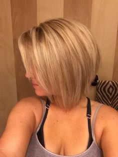 Glad I decided against more low lights. Love the dimensional blonde. Angled bob, reverse bob, A-line cut.