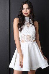 Crochet Lace Halter Neck Ruffle Dress