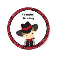 Cowboy Birthday Stickers