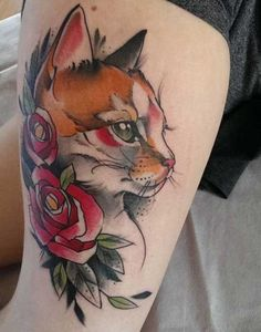 colorful cat tattoos #CatTattoo