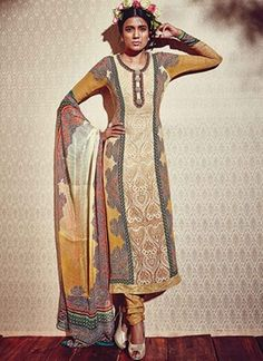 Magical Mustard Embroidery Work Printed Georgette Churidar Suits http://www.angelnx.com/