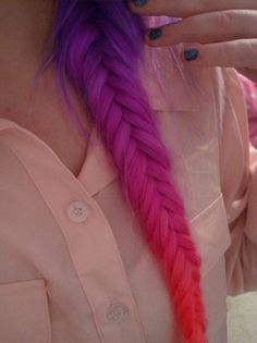 colorful fishtail plait