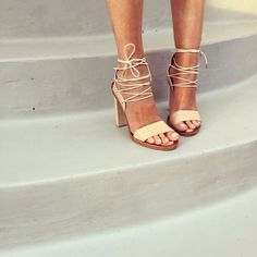 These lace-up heels will take you from season to season. Shop other nude lace-ups on ShopStyle. Women's Shoes, Cute Shoes, Me Too Shoes, Shoe Boots, Lace Up Heels, High Heels, Strappy Heels, Nude Sandals, Mode Chic