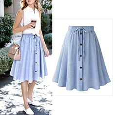 NEW Women Stripe Skirts Single-breasted Lace High Waist Casual Plain Skater Flared Skirt Drop Shipping Saia Listrada Stylish Formal Skirts for Women To Wear To Office Cheap Summer Outfits, Summer Outfits Women, Summer Clothes, Skirt Outfits, Dress Skirt, Flare Skirt Outfit, Midi Skirt, Basic Outfits, Waist Skirt