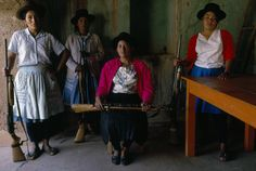 The women of San Jose de Ticllas once had only knives to defend themselves if a ttacked by Shining Path (Sendero Luminoso) guerrillas, who burned down the loca l school, medical facility, and administration building. Peru's military gave guns to this village, which hasn't been attacked since.