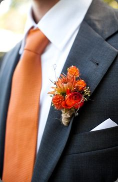 Autumn Inspired Boutonniere Purple and Orange wedding colors? Not a bad idea! Fall Wedding Flowers, Fall Wedding Colors, Wedding Bouquets, Autumn Wedding Ideas, Wedding Gowns, Corsage Wedding, Fall Flowers, Wedding Greenery, Prom Flowers