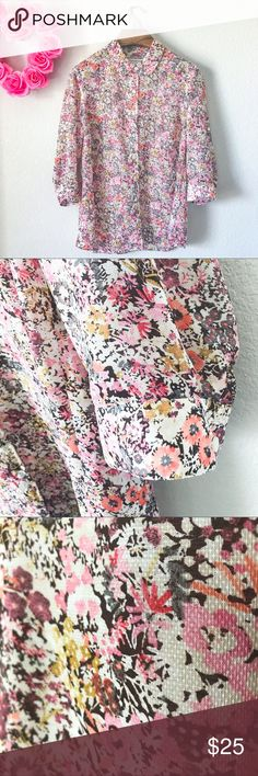 Coldwater Creek Floral Button Down Shirt Pre-loved but in good condition! No major signs of wear, no stains, snags, or tears upon inspection. (001-0194)   PRODUCT DETAILS: •Size: Extra Large XL / 16 •Colors: Cream, Pink, Mustard Yellow, Gray, Red, Salmon Pink, Purple •Made in China •Measurements: Pit2Pit-21inch Length-30inch •100% Polyester •Machine Wash •Button Down / Up •Half / 3/4 Sleeve •Soft Elegant Floral Print  •Double Button Cuffs •With Collar  Tags: spring summer top blouse casual…
