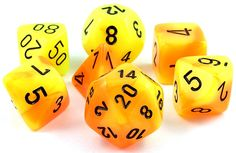 Gemini Dice (Yellow and Orange) RPG Role Playing Game Dice Set