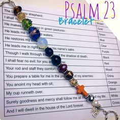 Psalm 23 DIY bracelet. Scripture jewelry to help you memorize this beloved book of the Bible. For sale on Etsy: www.beadup.etsy.com