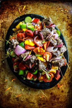 Greek Lamb Skewers with Village Salad from HeatherChristo.com