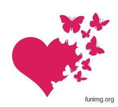 Coeur et envolée de papillons
