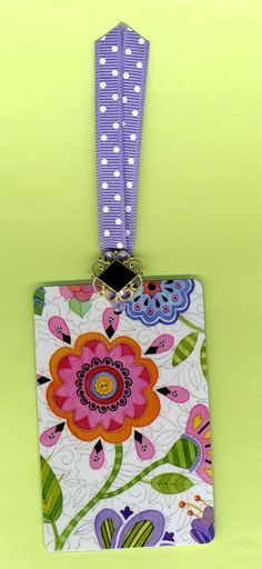 Handmade WHIMSICAL FLOWERS Bookmark from Mary Engelbreit Playing Card with Vintage Button and Dotted Grosgrain Ribbon. $4.00, via Etsy.