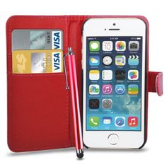 nice Apple iPhone 5/5S Leather Wallet Flip Case Cover Pouch & Touch Stylus Pen + Screen Guard & Cleaning Cloth - Red