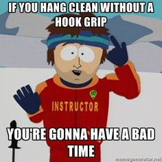 This week's #weightlifting lesson - if you hang clean without a hook grip, you're gonna have a bad time. Yeeeaaaahhhh threw that bar in front of my like a boss! #dontdothat
