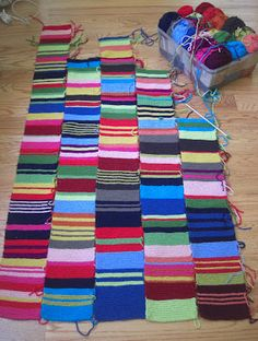Selvage Blog: Boho Scarf Blanket Progress I love the way this looks. Great yarn scrap buster.