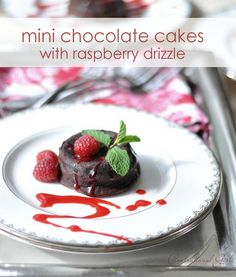Mini Chocolate Cakes with Raspberry Drizzle | Centsational Girl