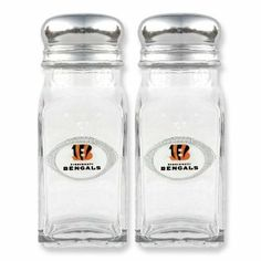 NFL Bengals Glass Salt and Pepper Shakers Real Goldia Designer Perfect Jewelry Gift goldia. $20.50