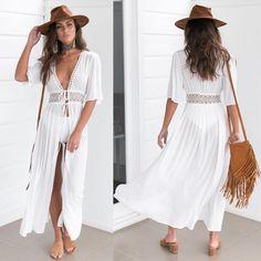 Women Lady Beachwear Swimwear Bikini Beach Wear Cover Up Kaftan White Dress New Sexy Dresses, Beach Dresses, Dresses For Work, Dress Work, Boho Dress, Dress Up, Dress Casual, Maxi Robes, Cardigan