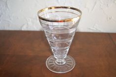 What a cool tumbler! It was made by the Hocking Glass Company and has the RING pattern. The pattern is also called BANDED RING, and was made from 1927