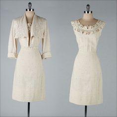 vintage 1950s dress . tan linen . macrame lace . matching jacket . 2818