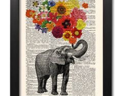 elephant with flowers elephant print flower print art print illustration print old book pagesold - Prints On Old Book Pages