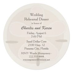 Sand Dollar Wedding Rehearsal Dinner Personalized Announcements