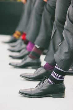 a lineup of colorful #socks | Photography by onelove-photo.com | Read more - http://www.stylemepretty.com/2013/07/24/hollywood-wedding-from-onelove-photography/