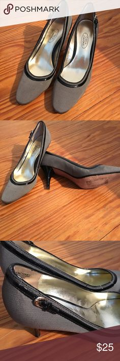 "Circa Joan & David Heels Black and white tweed material accented by black patent leather all around the shoe, culminating in a buckle accent in gold tone at the back side of the shoe. 3"" black patent heels. This is a great professional shoe. Circa Joan & David Shoes Heels"