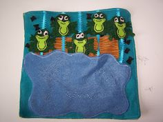 5 Green & Speckled Frogs Quiet Book Page