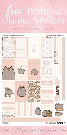 Pusheen The Cat - Free Printable Planner Stickers for Classic Happy Planner by Organized Potato - For use in Happy Planner, Erin Condren, Bullet Journal, scrapbooking, and other paper crafts. Great free DIY stationery craft! These super kawaii stickers are ready for your planner! Bring the super kawaii kitty that everyone loves to your planner with these adorable free stickers. Includes bonus clip art deco stickers! Perfect for your next DIY stationery project! #bujo #bulletjournal #cute #cats #