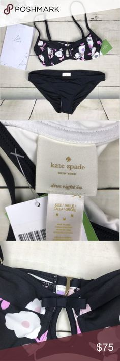 Kate Spade Cruise 2017 Floral Two Piece Swimsuit This is a brand new swimsuit. Although the bottoms do not have their own separate tag, they still have the safety strip on them. The top does not have any padding in it  See pictures above for details  *smoke free home* kate spade Swim Bikinis