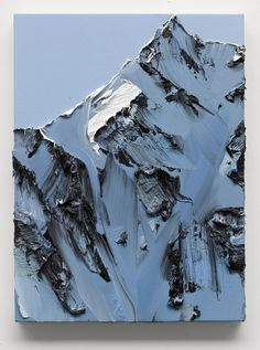 sol H, 2012, 35x35 cm  When looking at Swiss painter Conrad Jon Godly's mountainous paintings, it takes a moment to truly appreciate the incredible skill behind what seems to be such an effortless application of paint. Up close the landscapes appear to be a thick, almost random mix of blue, w