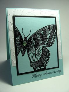 handmade card ... three colors: white, aqua and black ... giant Swallowtail stamp ... like the  dot cloud texture on the base card ... Stampin' Up!