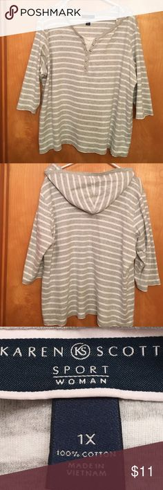 "KAREN SCOTT GRAY AND WHITE STRIPED SHIRT WITH HOOD 🌺....VERY COMFORTABLE....KAREN SCOTT SPORT WOMAN GRAY AND WHITE STRIPED TOP, 3/4 SLEEVES WITH HOOD.  •••••••RUNS BIG....it is a 1X but it is larger.  100% cotton.  Details: machine wash cold gentle cycle, tumble dry low.  Measurements:  chest 26"" sleeve length 11"".  It would be great with a pair of yoga pants.....nothing more comfy !  PERFECT CONDITION!  Stored in a smoke free home. Karen Scott Sport Tops"