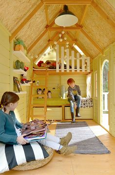Shed Playhouse, Playhouse Interior, Backyard Playhouse, Wooden Playhouse, Playhouse Decor, Playhouse Ideas, Cubby Houses, Play Houses, Tree House Interior