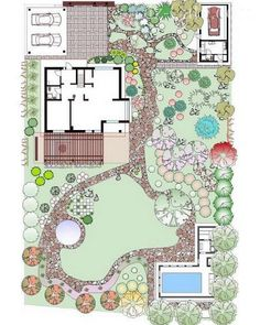 Informal garden with varied spaces.