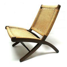 Vintage 1960s HANS WEGNER Style Danish Art Modern design Folding Rope Chair Modernist. $349.00, via Etsy.