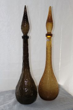 Lot of 2 Vintage Genie Bottle Decanters w Stoppers Lava Diamond Cut Genie In A Bottle, Images Of Colours, Murano, Glass Bottles, Lava, Diamond Cuts, Heaven, Dreams, Vintage