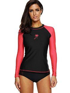 Attraco Damen Bademode UV-Schutz Langarm Shirt Rash Guard Oberteil UPF 50+   Amazon.de  Bekleidung 77fac8a9e4