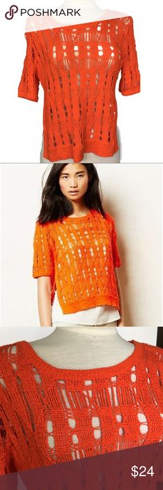 """MOTH Anthropologie Side Slice Midi Pullover Open knit chunky crochet orange sweater by Moth Anthropologie. Gently pre loved, no flaws. No holes, rips or stains. Measurements: 20"""" it to pit 22"""" long in front, 24"""" long in back. Anthropologie Tops"""