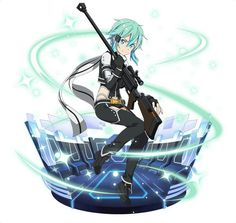Sinon (GGO) i like black theme more, somehow it's scream her badass Sword Art Online, Online Art, Sinon Ggo, Kirito, Fantasy Characters, Anime Characters, Mai Waifu, Asada Shino, Accel World