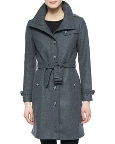 B2YTR Burberry Brit Single-Breasted Wool-Blend Trenchcoat