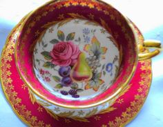 Paragon Ruby Red Fruit Gold Rose Tea Cup and Saucer | eBay