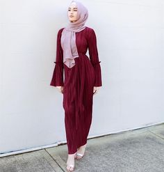 Wine Red Pressure Plait Muslim Gown Fashion Dress/Muslimah wear / Party dress for islamic @byshanel Viber /Wechat::+86 13537825375